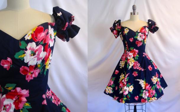 Vintage Roberta Floral Party Dress